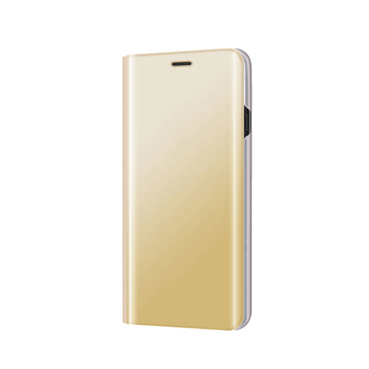 Translucent View Mirror Case Flip Electroplate Stand Smart Cover for Samsung Galaxy J7 2016 J710 gold