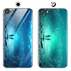 Dream Luminous Tempered Glass Back Case For Apple iPhone SE 5 5S eternal sea iphone 5 / 5s / se