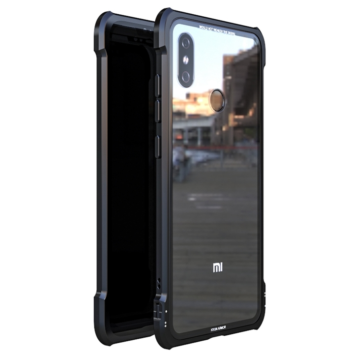 Buckle Structure Luxury Metal Frame and Clear Tempered Glass Back Cover Case For Xiaomi Mi 8 black Xiaomi Mi 8 Explorer