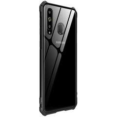 Buckle Structure Luxury Metal Frame and Clear Tempered Glass Back Cover Case For Samsung A8s Note 8 black Samsung Galaxy A8s