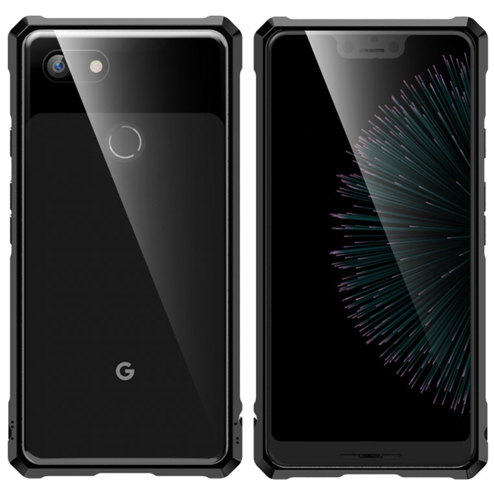 Buckle Structure Luxury Metal Frame and Clear Tempered Glass Back Cover Case For Google Pixel 3 3XL black Google Pixel 3 XL