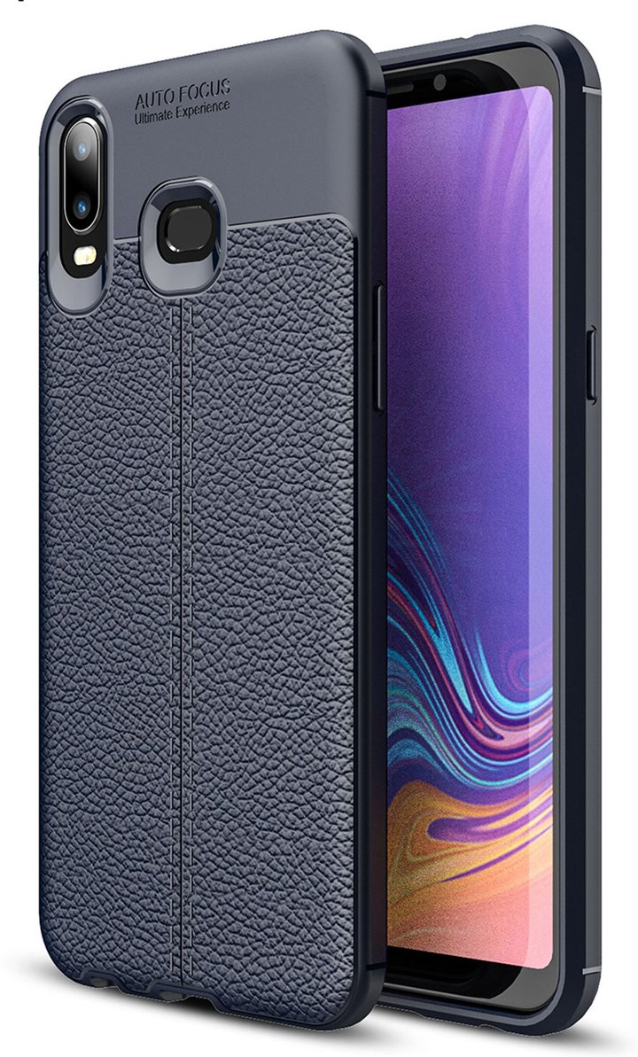 Litchi Pattern Ultra Slim Soft TPU Anti Scratch Shock Cover For Samsung Galaxy A6 A6s A9 Note9 Navy Samsung Galaxy A6 2018