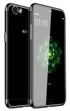Soft TPU Transparent Plating Frame Shockproof Case for OPPO A59 black OPPO A59