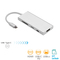 USB C Hub, 7 in 1 Multiport Adapter, USB 3.0 ports, HDMI, Card Reader, PD 2.0 Charging Port Silver S1607