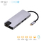 USB C Hub,8 in 1 Adapter, USB 3.0 ports, HDMI, VGA, RJ45 Ethernet, Card Reader, PD 2.0 Charging Port Light Grey S1609