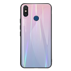 Gradient Tempered Glass Plating Backplane Thin Soft TPU and Hard PC Protective Case for Xiaomi Mi 8 Pink Xiaomi Mi 8