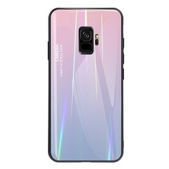 Gradient Tempered Glass Plating Backplane Soft TPU Protective Case for Samsung Galaxy S9 S9 Plus Pink Samsung Galaxy S9
