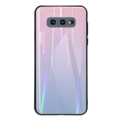 Gradient Tempered Glass Plating Backplane Thin Soft TPU Protective Case for Samsung Galaxy S10e Pink Samsung Galaxy S10e