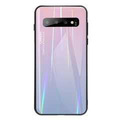 Gradient Tempered Glass Plating Backplane Soft TPU Protective Case for Samsung Galaxy S10 S10 Plus Pink Samsung Galaxy S10