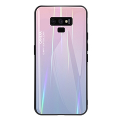 Gradient Tempered Glass Plating Backplane Thin Soft TPU Protective Case for Samsung Galaxy Note 9 Pink Samsung Galaxy Note 9