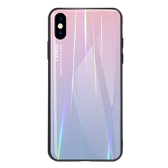 Gradient Tempered Glass Plating Backplane Thin Soft TPU Protective Case for Apple iPhone X XS XS Max Pink Apple iPhone X XS