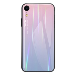 Gradient Tempered Glass Plating Backplane Thin Soft TPU Protective Case for Apple iPhone XR Pink Apple iPhone XR