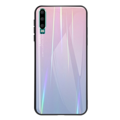 Gradient Tempered Glass Plating Backplane Thin Soft TPU and Hard PC Protective Case for Huawei P30 Pink Huawei P30