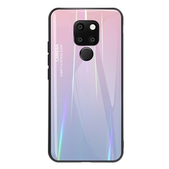 Gradient Tempered Glass Plating Backplane Soft TPU and Hard PC Protective Case for Huawei Mate 20 Pink Huawei Mate 20