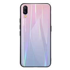 Gradient Tempered Glass Plating Backplane Thin Soft TPU and Hard PC Protective Case for Vivo Nex S Pink Vivo Nex S