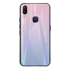 Gradient Tempered Glass Plating Backplane Thin Soft TPU and Hard PC Protective Case for Vivo Nex A Pink Vivo Nex A