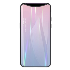 Gradient Tempered Glass Plating Backplane Thin Soft TPU and Hard PC Protective Case for Oppo Find X Pink OPPO Find X
