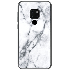 Marble Pattern Glass Hard Back Soft Silicone Bumper TPU Frame Protective Cover for Huawei Mate 20 White Huawei Mate 20