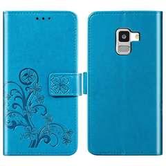 Samsung Galaxy A9 (2018) Case,Premium PU Leather Flip Wallet Cover Shell with Folding Kickstand blue samsung galaxy a9 (2018)