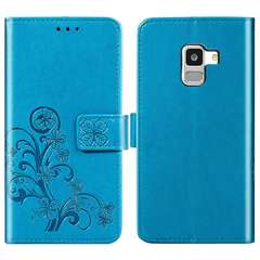 Samsung Galaxy A6s (2018) Case,Premium PU Leather Flip Wallet Cover Shell with Folding Kickstand blue samsung galaxy a6s