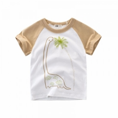 2018 Kid Sport Short Sleeves Baby Boys Girls T-shirt White/khaki 3T