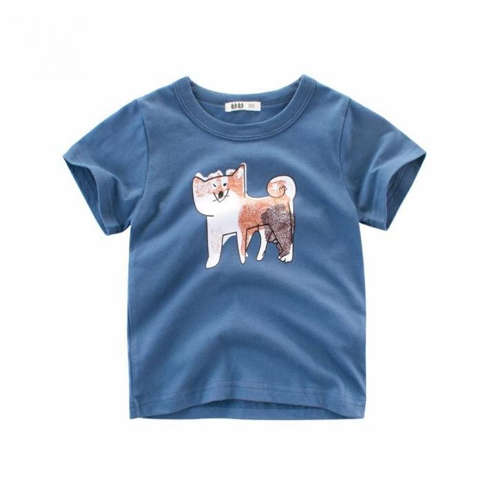 2018 Summer Baby Boys Sport T shirts Cotton Cartoon Girls Clothes Kid T-Shirt Cadet blue 90