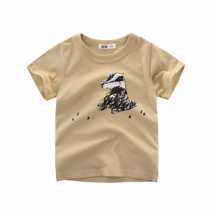 2018 Summer Baby Boys Sport T shirts Cotton Cartoon Girls Clothes Kid T-Shirt Khaki 90