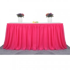 Tutu Tulle Table Skirt Cloth for Party Wedding Home Decoration ROSE RED One Size