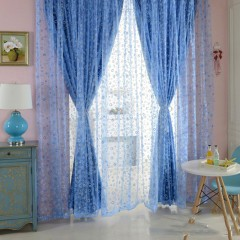 100 x 200cm Shimmery Circle Printed Voile Door Window Sheer Panel Curtain BLUE One Size