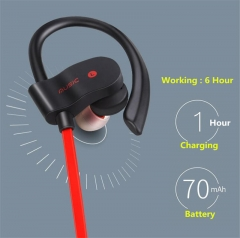 Headset Wireless Earphone Headphone Bluetooth Earpiece Sport Running Stereo Earbuds for Smartphone red