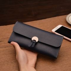 Vintage quality PU Leather Long Fashion Women Wallets Designer Lady Party Wallet Female Card Holder blue all size