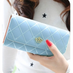 Women Wallet Clutch Bag Vintage Crown Wallets Girls ID Card Holder  Purse Phone Case sky blue all size