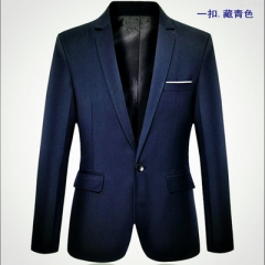Hot Sale New Arrival Fashion Blazer Mens Casual Jacket  Classic Mens Suit Jackets Coats blue, one button m