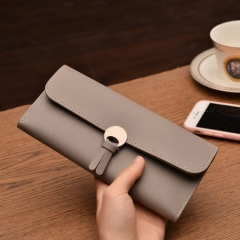 Vintage quality PU Leather Long Fashion Women Wallets Designer Lady Party Wallet Female Card Holder light grey all size