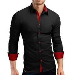 Men Shirt Brand 2018 Male High Quality Long Sleeve Shirts Casual Hit Color Slim Fit black red m