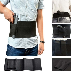 Slim Waist Concealed Carry Belly Band Pistol Gun Holster + 2 Mag Pouches ( Color: Black ; Size: M) Black-M