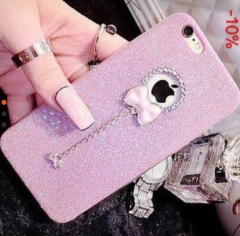 Diamond Soft TPU Bracelet Case For iPhone 6 6S 7 8 Plus Bling Glitter Phone Cover with Cute Bowtie Pink iphone 7/8