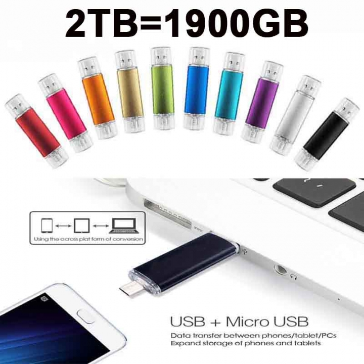 2TB (1900GB) Metal OTG Pen Drive Flash Drive for Android Smartphone Laptop 2T Pendrive