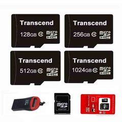 TRANSCEND Micro SD Card Class 10 128GB 256GB 512GB 1024GB Memory Card + Free Reader black micro sd 256gb high speed