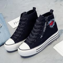 KK-Hot Fashion  Women Kiss Print Classic High Top Canvas Casual Shoes black 35