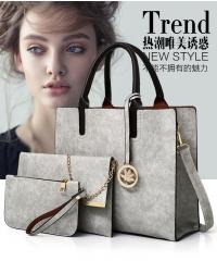 KK-3pcs Set Handbag Classic Fashion Women Luxury Handbag PU Leather Genuine Bags gray one set