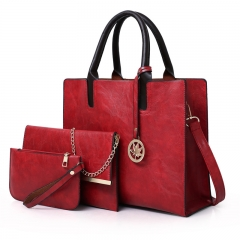 KK-3pcs Set Handbag Classic Fashion Women Luxury Handbag PU Leather Genuine Bags red one set