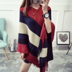 KK-Fashion Women Free Size Loose Contrast Color Stripe Tassel Cloak Sweater Knitting Cardigans Red free size