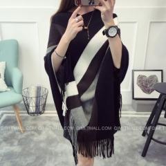 KK-Fashion Women Free Size Loose Contrast Color Stripe Tassel Cloak Sweater Knitting Cardigans Black free size