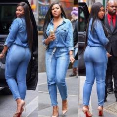 KK-Fashion Women Casual Waist Bandage Adjustment Slim Jean Jumpsuit Blue 3xl