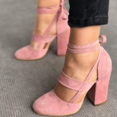 Fashion Women Sexy Bandage Suede High Chunky Heel Shoes pink 35