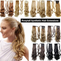 Fashion Long Wave Synthetic  Ponytail Extensions Fake Curly Hair black one pcs