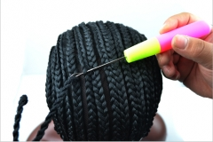 KK-easy convenient braided cornrow cap expression wigs hair net network black one set