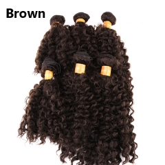 KK-6pcs/lot Short Wavy Synthetic Hair Weft Weave Jazz Wave Hair brown 6pcs/lot