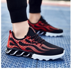 KK-Fashion Hot Fire Pattern Men Running Shoes Breathable Sneakers Sport Outdoor Shoes black-red 39
